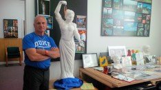 Morelli with a plaster model of a statue titled Reunion, which he hopes one day will stand as an 8ft bronze at the south end of the Mohawk Valley Gateway Overlook pedestrian bridge