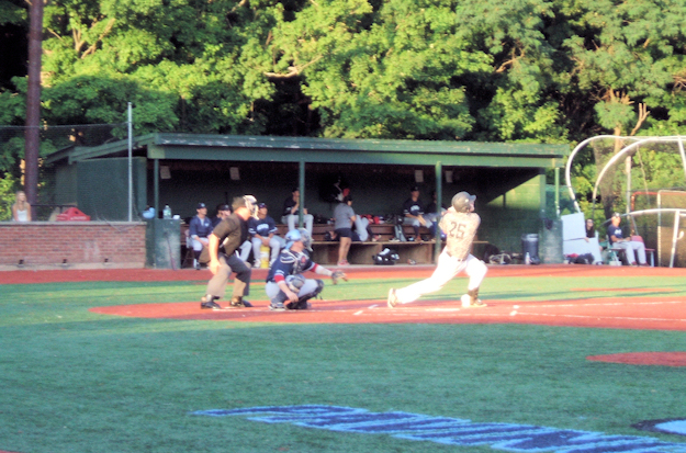 Tommy Kain drives one deep