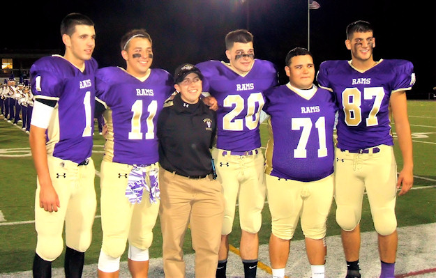 AHS players with trainer Carla Pasquarelli. Photo by Scott Mulford.