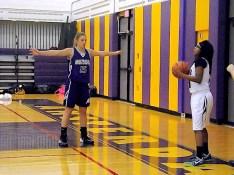 Caitlin Gannon #15 defends Fowler's inbound pass