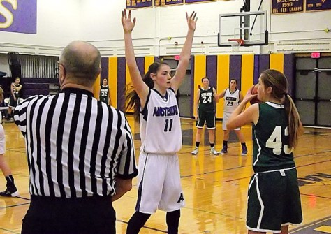 Nina Fedullo #11 defending the inbounds pass by Alexis Horwedel #42