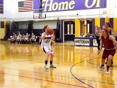 Kaitlyn Devine about to shoot a three pointer