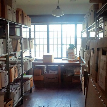 Records stored in the old nursery room at City Hall