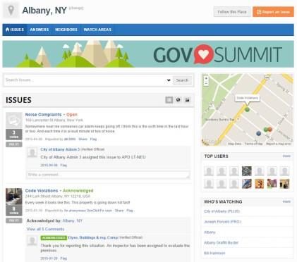 Albany NY's SeeClickFix home page.