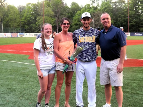 Brett Flint with parents and sister Taylor