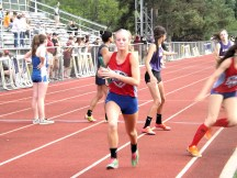 Coreena Monroe in a relay event. Photo by Scott Mulford.