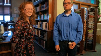 Sara Pierce, library staff, David Brooks, Director, Schoharie Crossing State Historic Site