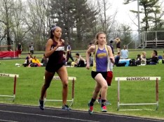 Olivia Lazarou leading the 800 meter run