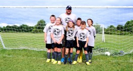 Coach Sean Meca with (most of) the team