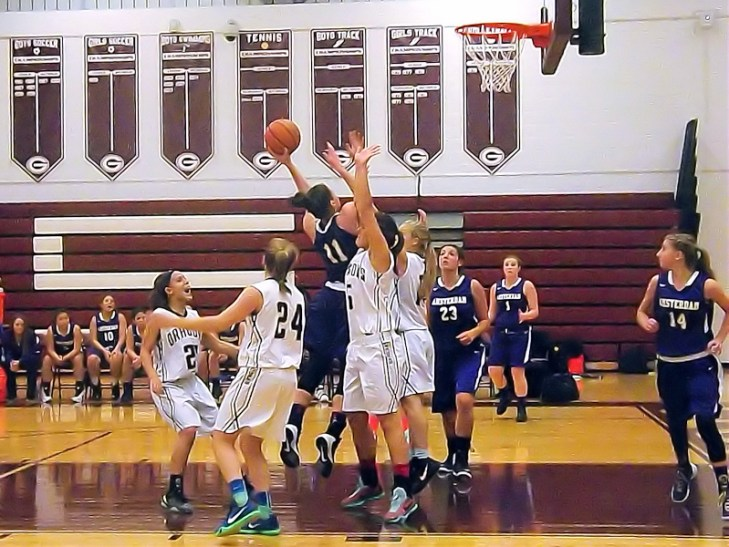 Nina Fedullo making a left handed lay up in fourth quarter
