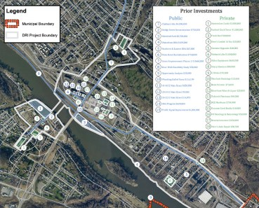 Map of recent investments made in the downtown area