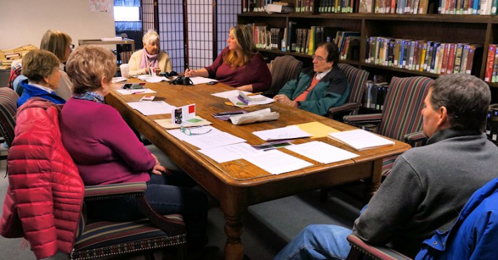 Residents interested in the Arts of All group meet at the Amsterdam Free Library