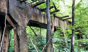 Railroad bridge to bring in coal cars directly to the plant