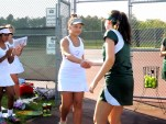AHS captain Molly Monge shakes hands with her opponent before the match