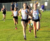 Brook Marshall (right) and Kayla Sondrup (left) lead the AHS pack with Skylar Grybos and Gabby Feliciano