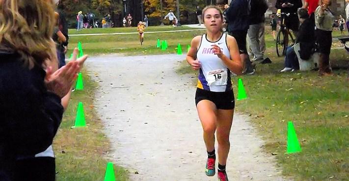 Olivia Lazarou heads for the finish line