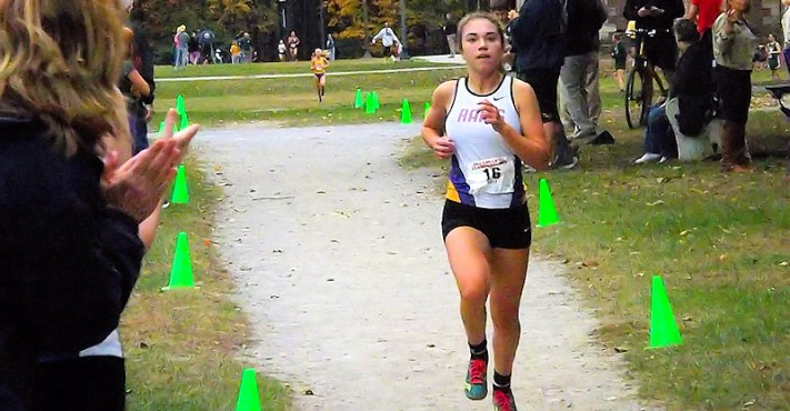 Olivia Lazarou heads for the finish line