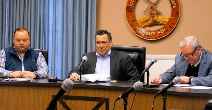 Mayor Michael Villa (center), Alderman Chad Makewski (left), Corporation Counsel Bill Lorman (right)