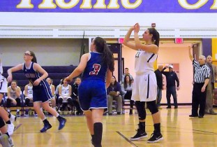 Giuliana Pritchard following through on a free throw and point number 500 for the season