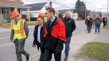 Mayor Michael Villa, Assemblyman Angelo Santabarbara, Alderman Chad Majewski, and State Department of Transportation officials tour Church Street
