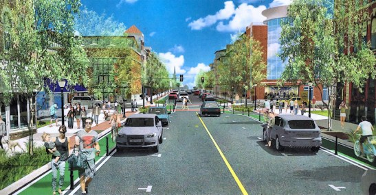 Conceptual rendering of what Main Street could look like with the removal of the Riverfront Center