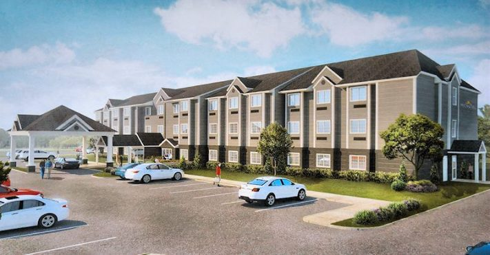 Architectual rendering of proposed Microtel hotel on Route 5s, used with permission.
