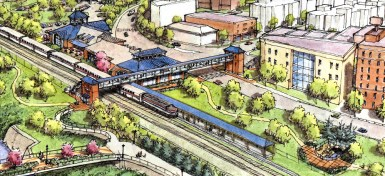 Illustration of the proposed multimodal transportation center on the west side of the Route 30 bridge