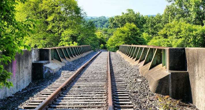 View of the bridge carring the Amsterdam Chuctanunda and Norther Railroad line over Route 5