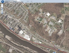 Screenshot of the Amsterdam Chuctanunda & Northern Railroad path from the Federal Railroad Administration website (http://fragis.fra.dot.gov/GISFRASafety/)