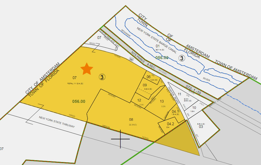 Area marked in yellow is the IBD zone approved by the county for change to mixed use. The star marks the property being considered for annexation