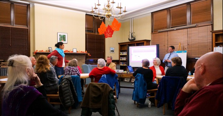 Wade Abbott of the Mohawk Valley Library System, facilitates a public workshop at the Amsterdam Free Library