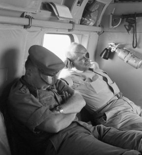 Defence minister Moshe Dayan, right, and chief of staff Yitzhak Rabin fly back from the battlefield on the day after the six-day war