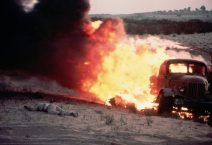 On the first day of the six-day war, I was in a half-track with General Israel Tal's division,' he said of this image. 'As we headed for Rafiah and El Arish through the Gaza strip, an Egyptian truck ahead of us was hit by an Israeli plane. The picture of the flaming truck and the dead soldier best told the story that Israel and Egypt were again at war. Time used it as the background for its six-day war cover that featured a portrait of defence minister Moshe Dayan, and Life printed it over a double page'