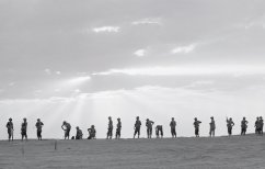 """What I would like to believe is a typical image of the Israel Defence Forces (IDF): there isn't one soldier in this line who is standing in the same position as another. Everything uniform about an army is missing. That was typical of the army of the 1950s and 60s. No saluting. No Prussian drill. No bullshit. But it wasn't a bad army, by any means. One of my editors, a former US Marine officer, once visited Israel and commented, after seeing a few soldiers in the street: """"They're about the sloppiest looking soldiers I've ever seen. But they sure can fight!""""'"""