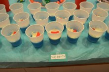 Fish Bowls - blue jello, whipped cream and a swedish fish