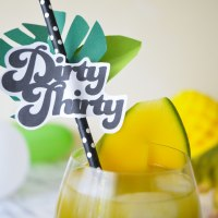 Dirty Thirty Matcha-Mango Mocktail + Drink Topper Printable | Sweet 30th Geburtstag