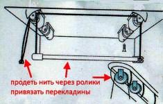 продеть нить через ролики и закрепить перекладины для белья потолочной сушилки