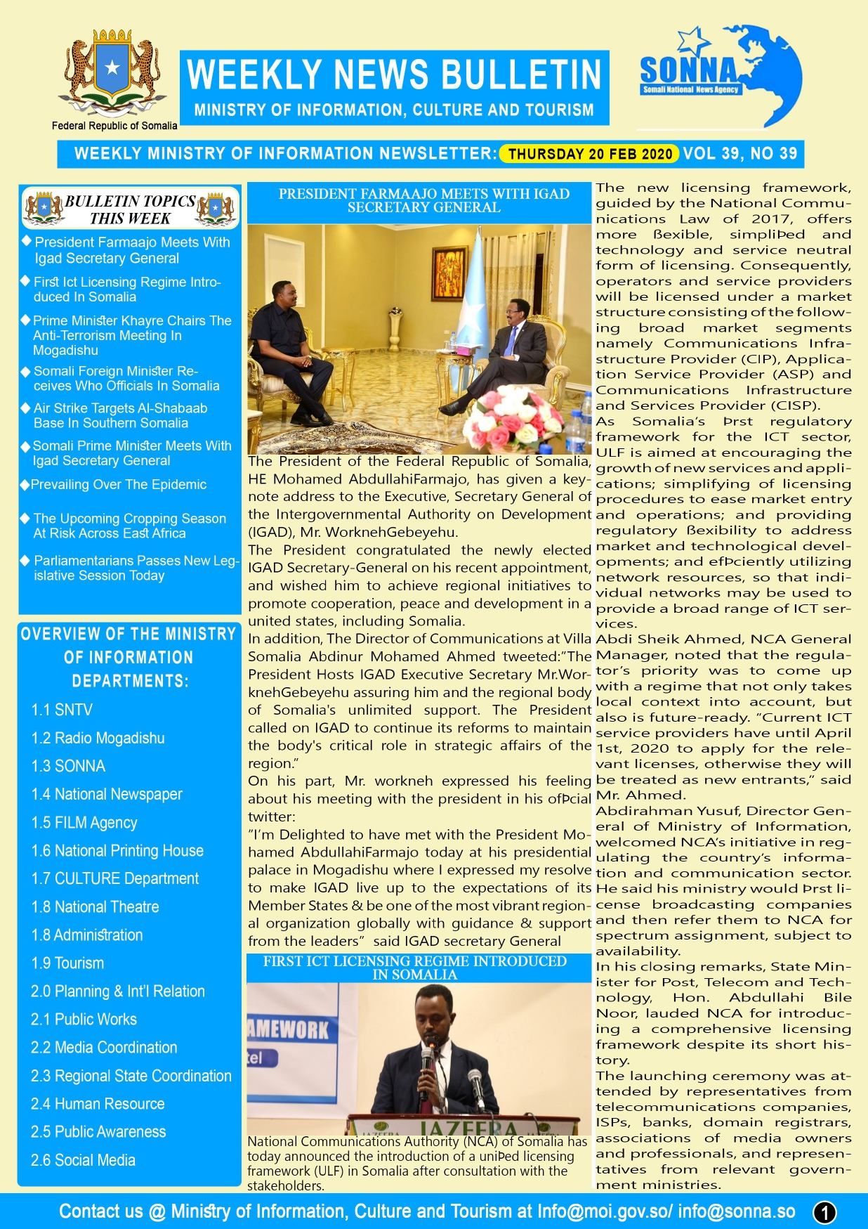 News Weekly Bulletin Vol 39