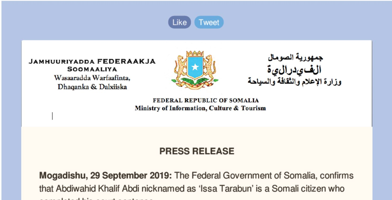 PRESS RELEASE Mogadishu, 29 September 2019