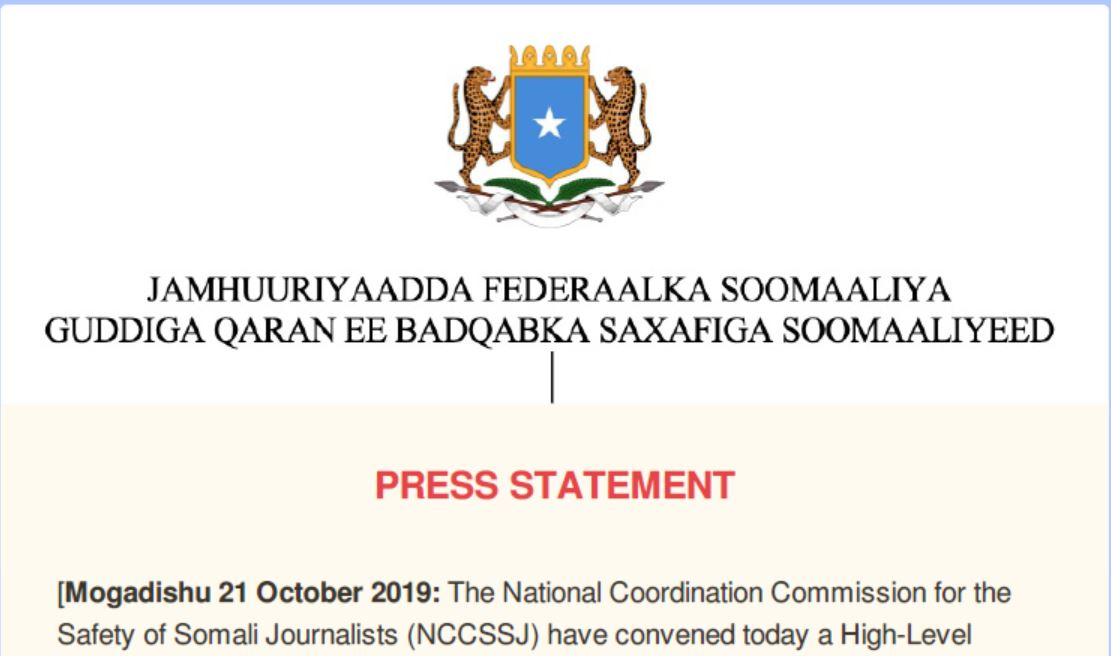PRESS STATEMENT Mogadishu 21 October 2019