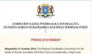 PRESS STATEMENT Mogadishu 21 October 2019