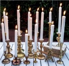 MD043 20 piece gold brass candlestick set