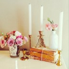 Add a bit of glam with the MD018a mercury votive for your flowers, MD043 brass candlesticks, MD081 bookstacks and the MD022a white bottle