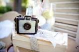 Vintage camera on bookstack