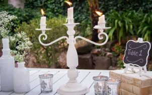 White bottles MD022a+b, MD044 candelabra and MD08a bookstack with MD007 table frame