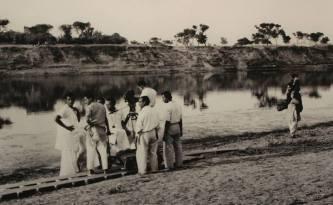 "Shooting the last shot of ""Apur Sangsar"", Maheshgunj, West Bengal 1958"