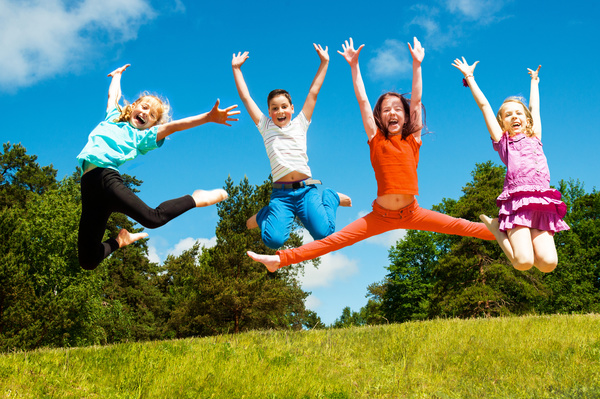 Jumping happy child HD picture