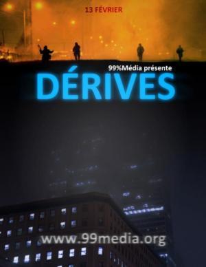 Affiche pour le film : en bas, le haut d'un gratte-ciel, au milieu l'ombre d'un gratte-ciel la nuit, en haut on discerne 4 jeunes sur la rue couverte de fumée orangée.