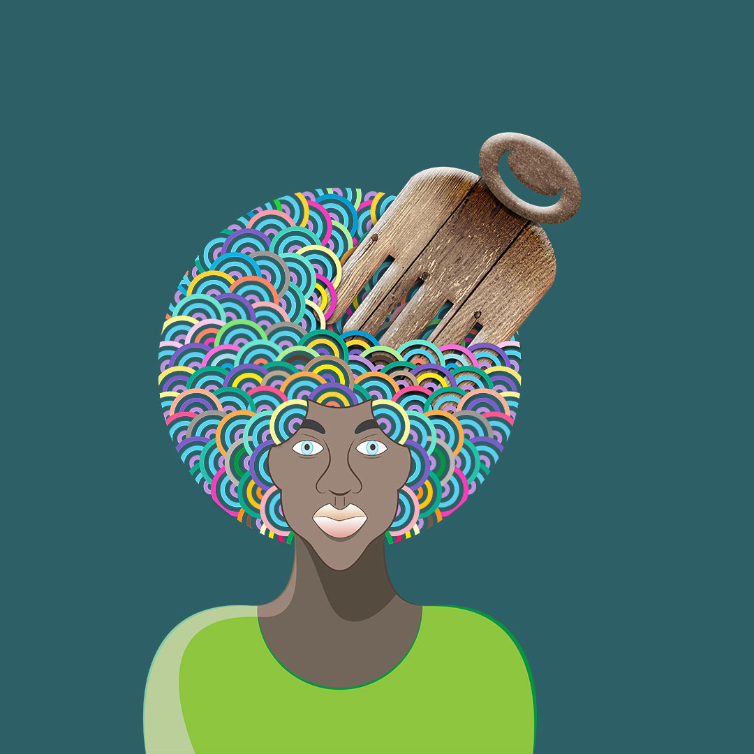 woman with Afro comb in her hair