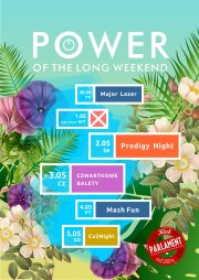 """banner imprezy """"power of the long weekend"""""""